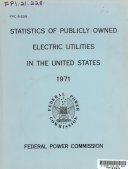 Statistics of Pubicly Owned Electric Utilities in the United States  1971