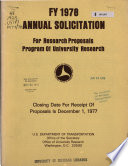 Annual Solicitation for Research Proposals Program of University Research