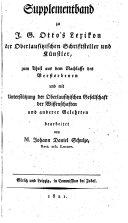 Supplementband zu J. G. Otto's Lexicon der Oberlausitzischen ...