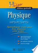 H Prépa édition spéciale Physique MPSI-PCSI-PTSI
