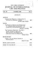 New York University Journal of International Law   Politics Book