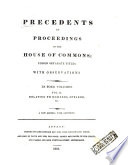 Precedents Of Proceedings In The House Of Commons
