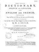 Dictionnaire royal françois-anglois, et anglois-françois ebook