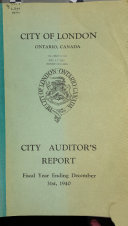 City Auditor's Report