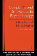 Complaints and Grievances in Psychotherapy Book