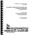 Investigation of High Density Polyethylene Pipe for Highway Applications