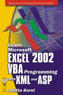 Learn Microsoft Excel 2002 VBA Programming with XML and ASP