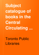 Subject Catalogue of Books in the Central Circulating Library