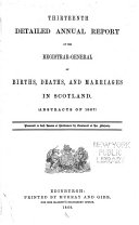 Detailed Annual Report of the Registrar-General of Births, Deaths and Marriages in Scotland