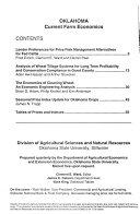 Oklahoma Current Farm Economics Book