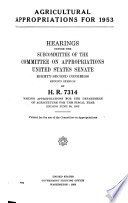 Agricultural Appropriations for 1953