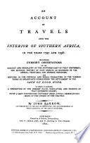 An Account of Travels Into the Interior of Southern Africa  in Years 1797 and 1798 Book
