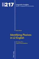 Identifying Plosives in L2 English