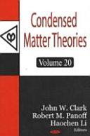 Condensed Matter Theories  Volume 20 Book