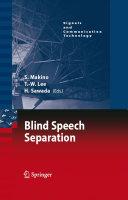 Blind Speech Separation ebook