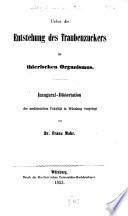 Ueber die Entstehung des Traubenzuckers im thierischen Organismus