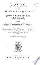 Yayin   Or the Bible Wine Question Book PDF