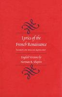 Pdf Lyrics of the French Renaissance Telecharger