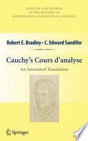 Cauchy   s Cours d   analyse Book