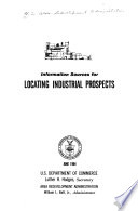 Information Sources For Locating Industrial Prospects Book PDF