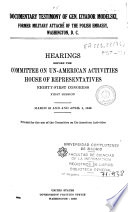 Hearings Before the Committee on Un American Activities  House of Representatives  Eighty first Congress  First Session  March 31 and April 1  1949 Book