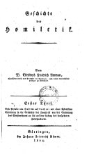 Geschichte der Homiletik: Thl. I