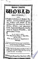 Satans Invisible World discovered; or, a choice collection of modern relations, proving evidently against the Saducees and Atheists of this present age, that there are Devils, Spirits, Witches, and Apparitions. ... To all which is added that marvellous History of Major Weir, and his Sister; with two relations of Apparitions at Edinburgh