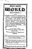 Satans Invisible World discovered  or  a choice collection of modern relations  proving evidently against the Saducees and Atheists of this present age  that there are Devils  Spirits  Witches  and Apparitions      To all which is added that marvellous History of Major Weir  and his Sister  with two relations of Apparitions at Edinburgh