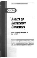 Audits of Investment Companies with Conforming Changes as of