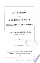 An Address On Marriage With A Deceased Wife S Sister