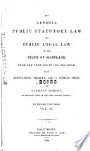 The General Public Statutory Law And Public Local Law Of The State Of Maryland