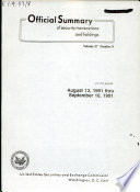 Official Summary Of Security Transactions And Holdings Reported To The Securities And Exchange Commission Under The Securities Exchange Act Of 1934 And The Public Utility Holding Company Act Of 1935 Book PDF