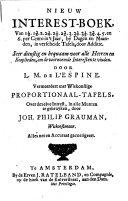 Nieuw interest-boek van 1 1/2, 1 3/4, 2, 2 1/4, 2 1/2, 2 3/4, 3, 3 1/4, 3 1/2, 3 3/4, 4, 5, en 6 per cento in't jaar, by dagen en maanden, in verscheide tafels, door additie ... Vermeerdert met wiskonstige proportionaal-tafels, over dezelve intrest, in alle munten te gebruyken, door Joh. Philip Grauman, etc. (Nouveau livre d'interest.).