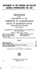 Department of the Interior and Related Agencies Appropriations for 1983 Book