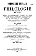 Dictionnaire universel de philologie sacrée...