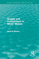 Pdf Supply and Competition in Minor Metals Telecharger