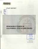 Renewable Power in California : Status and Issues