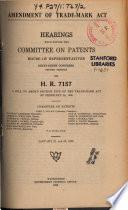 Amendment Of Trade Mark Act Hearings On H R 7157 Jan 21 22 1920 66 2