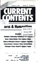 Current Contents  Arts   Humanities