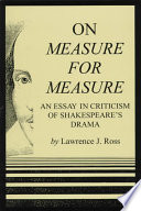 on measure for measure an essay in criticism of shakespeare s front cover