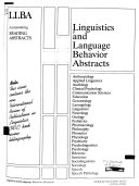 Linguistics and Language Behavior Abstracts Book