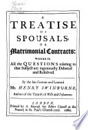 A Treatise of Spousals Or Marriage Contracts Book