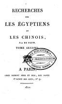 Recherches philosophiques sur les Égyptiens et les Chinois
