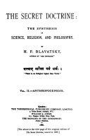 The Secret Doctrine  Anthropogenesis