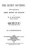 The Secret Doctrine Anthropogenesis