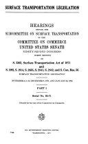 Surface Transportation Legislation Hearings Before The Subcommittee On Surface Transportation