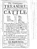 The Countryman's Treasure: Shewing the Nature, Causes, and Cure of All Diseases Incident to Cattle ... The Fourth Edition