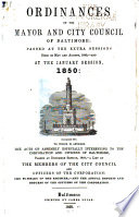 The Ordinances of the Mayor and City Council of Baltimore Book