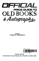 The Official Price Guide To Old Books Autographs