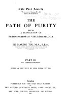 The Path of Purity  Of understanding  With an epilogue by Mrs  Rhys Davids